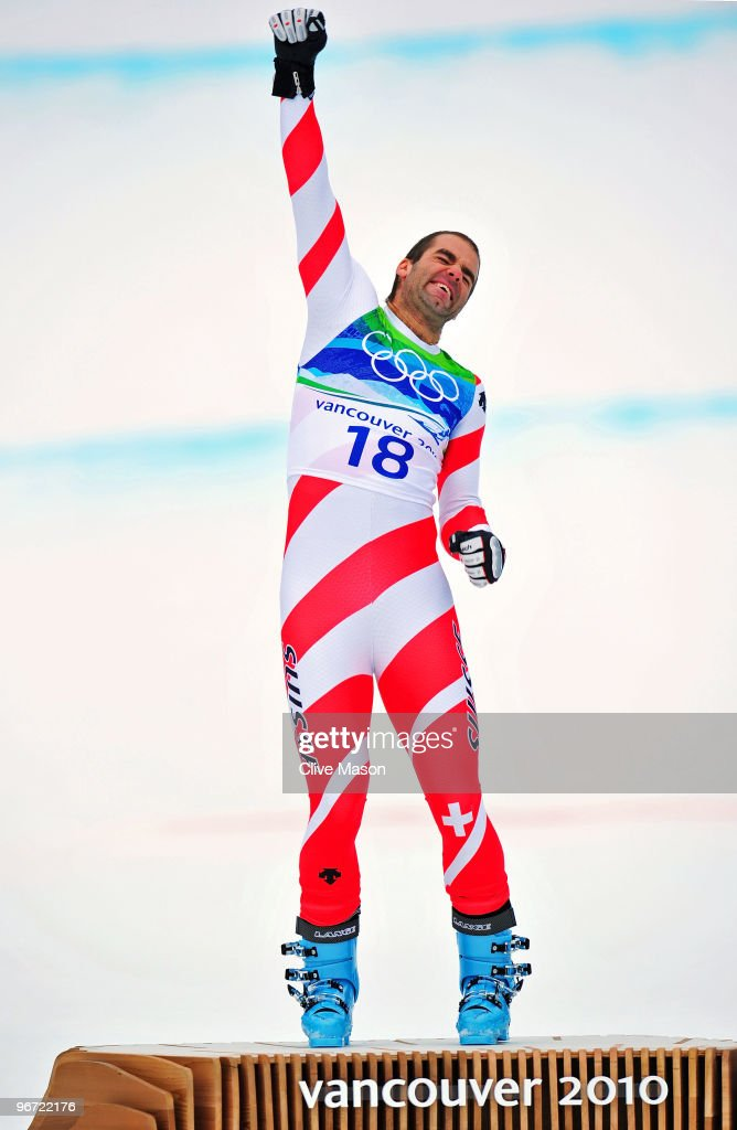 <a gi-track='captionPersonalityLinkClicked' href=/galleries/search?phrase=Didier+Defago&family=editorial&specificpeople=241278 ng-click='$event.stopPropagation()'>Didier Defago</a> of Switzerland celebrates after taking gold in the Alpine skiing Men's Downhill at Whistler Creekside during the Vancouver 2010 Winter Olympics on February 15, 2010 in Whistler, Canada.