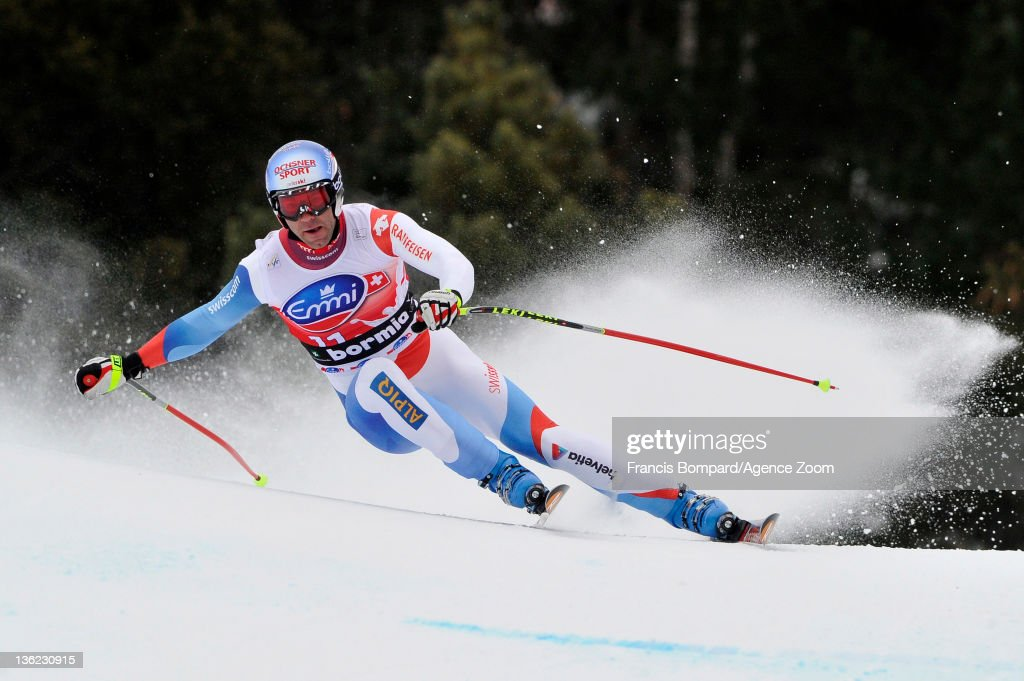 Didier Defago of Switzerland competes and takes 1st place during the Audi FIS Alpine Ski World Cup Men's Downhill on December 29, 2011 in Bormio, Italy.