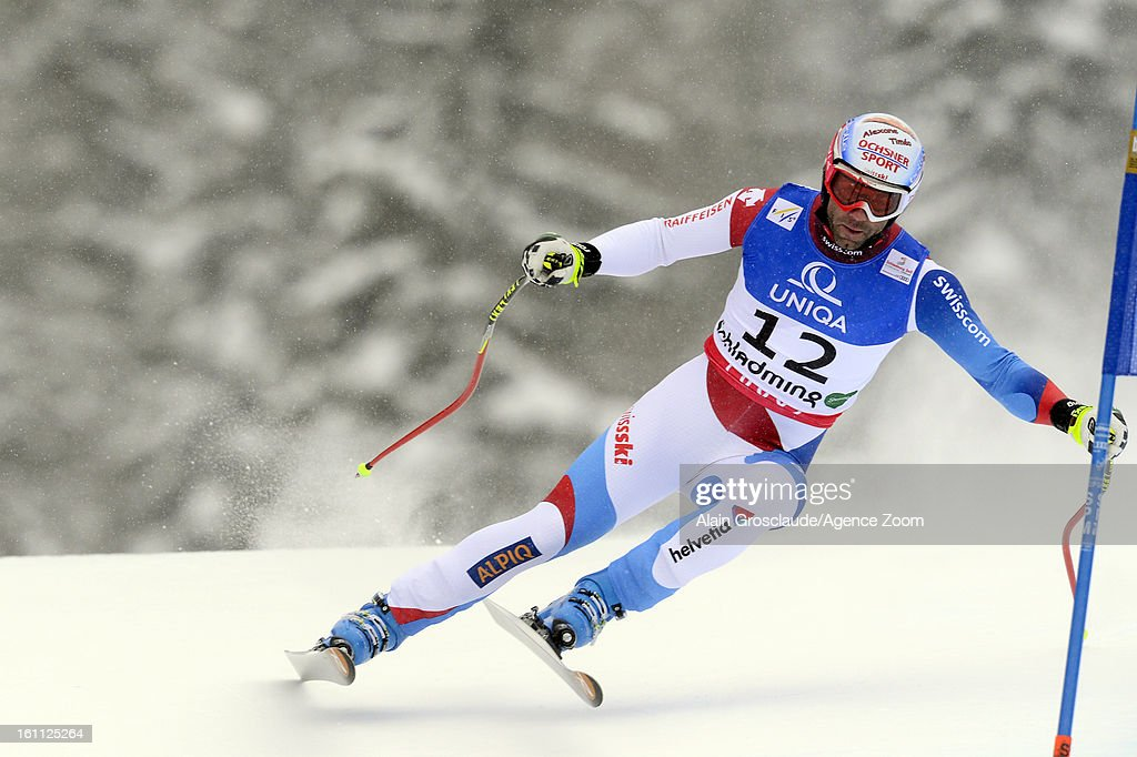 Didier Defago of Switzerland competes during the Audi FIS Alpine Ski World Championships Men's Downhill on February 09, 2013 in Schladming, Austria.