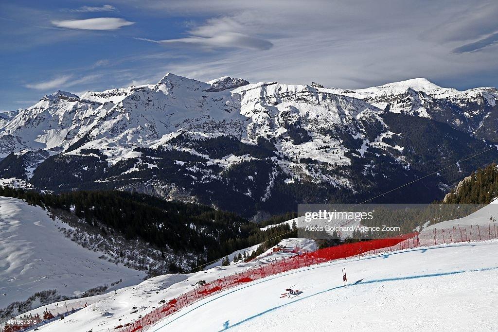 Didier Defago of Switzerland competes during the Audi FIS Alpine Ski World Cup Men's Downhill Training on January 15 2015 in Wengen Switzerland