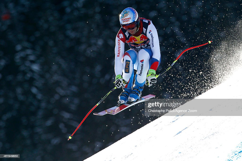 Didier Defago of Switzerland competes during the Audi FIS Alpine Ski World Cup Men's Downhill Training on January 22, 2015 in Kitzbuehel, Austria.