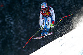 Didier Defago of Switzerland competes during the Audi FIS Alpine Ski World Cup Men's Downhill Training on January 22 2015 in Kitzbuehel Austria