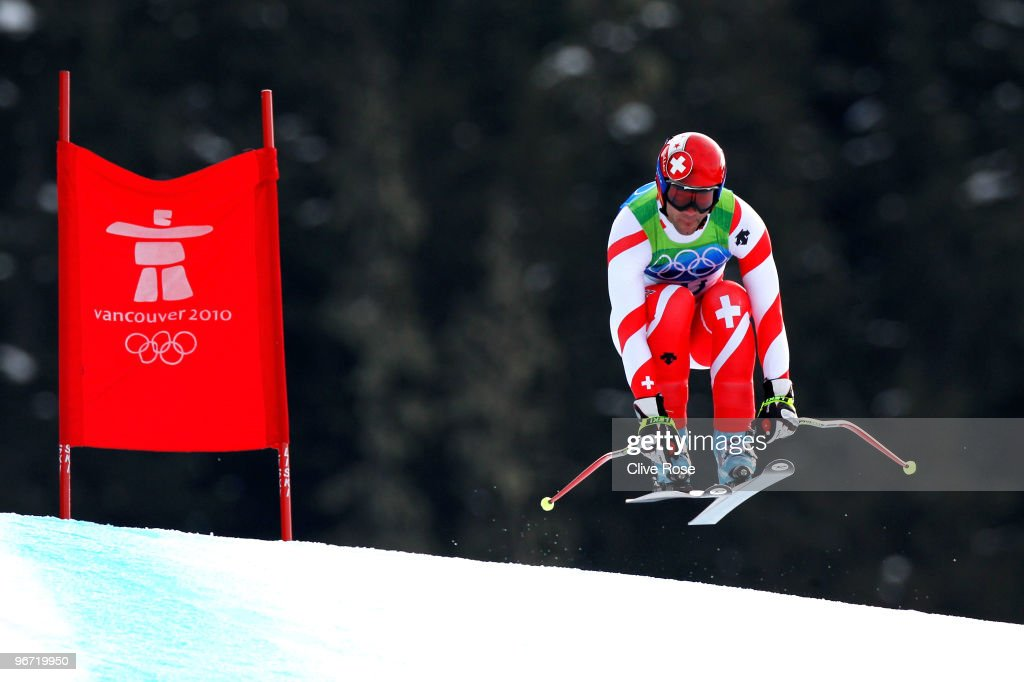 Didier Defago of Switzerland competes in the Alpine skiing Men's Downhill at Whistler Creekside during the Vancouver 2010 Winter Olympics on February 15, 2010 in Whistler, Canada.