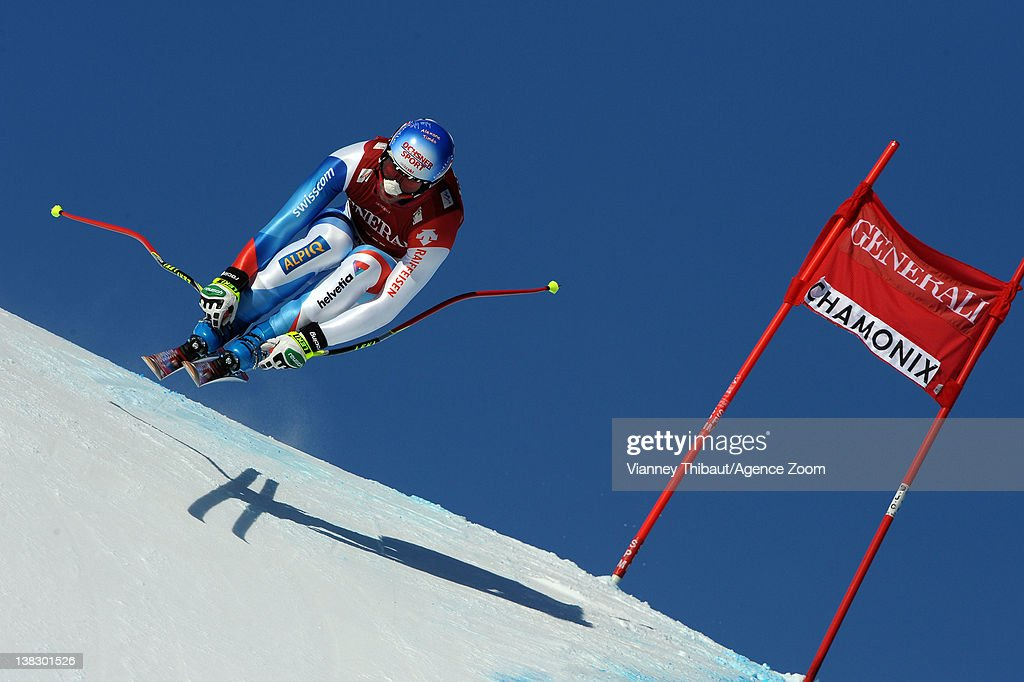 Didier Defago of Switzerland during the Audi FIS Alpine Ski World Cup Men's Super Combined on February 5, 2012 in Chamonix, France.