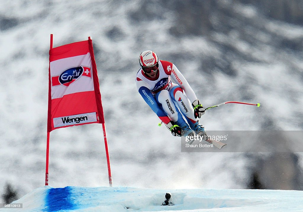 <a gi-track='captionPersonalityLinkClicked' href=/galleries/search?phrase=Didier+Defago&family=editorial&specificpeople=241278 ng-click='$event.stopPropagation()'>Didier Defago</a> of Switzerland in action during the FIS Ski World Cup Men's Downhill on January 16, 2010 in Wengen, Switzerland.