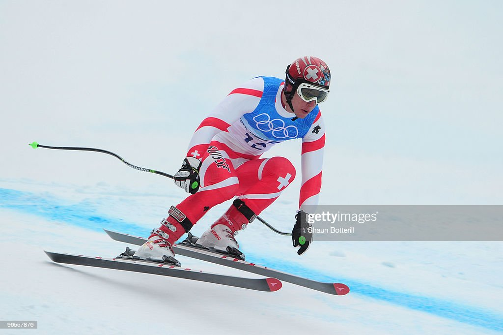 <a gi-track='captionPersonalityLinkClicked' href=/galleries/search?phrase=Didier+Defago&family=editorial&specificpeople=241278 ng-click='$event.stopPropagation()'>Didier Defago</a> of Switzerland practices during the Men's Downhill skiing 1st training run ahead of the Vancouver 2010 Winter Olympics on February 10, 2010 in Whistler, Canada.
