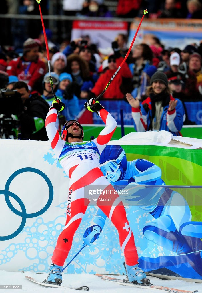 Didier Defago of Switzerland reacts after competing in the Alpine skiing Men's Downhill at Whistler Creekside during the Vancouver 2010 Winter Olympics on February 15, 2010 in Whistler, Canada.