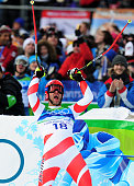 Didier Defago of Switzerland reacts after competing in the Alpine skiing Men's Downhill at Whistler Creekside during the Vancouver 2010 Winter...