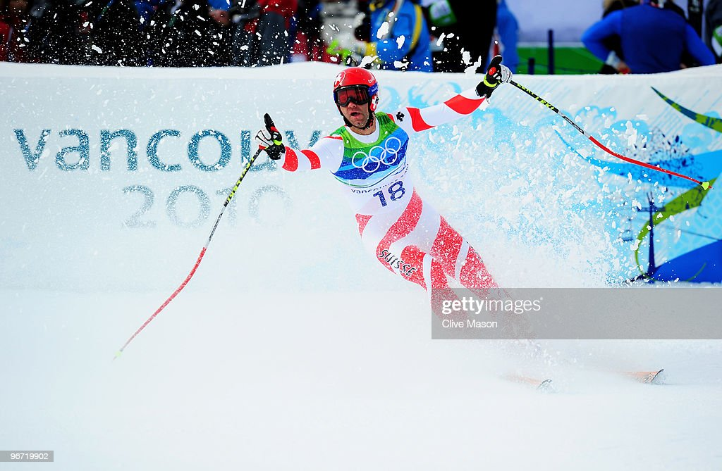 <a gi-track='captionPersonalityLinkClicked' href=/galleries/search?phrase=Didier+Defago&family=editorial&specificpeople=241278 ng-click='$event.stopPropagation()'>Didier Defago</a> of Switzerland reacts after competing in the Alpine skiing Men's Downhill at Whistler Creekside during the Vancouver 2010 Winter Olympics on February 15, 2010 in Whistler, Canada.