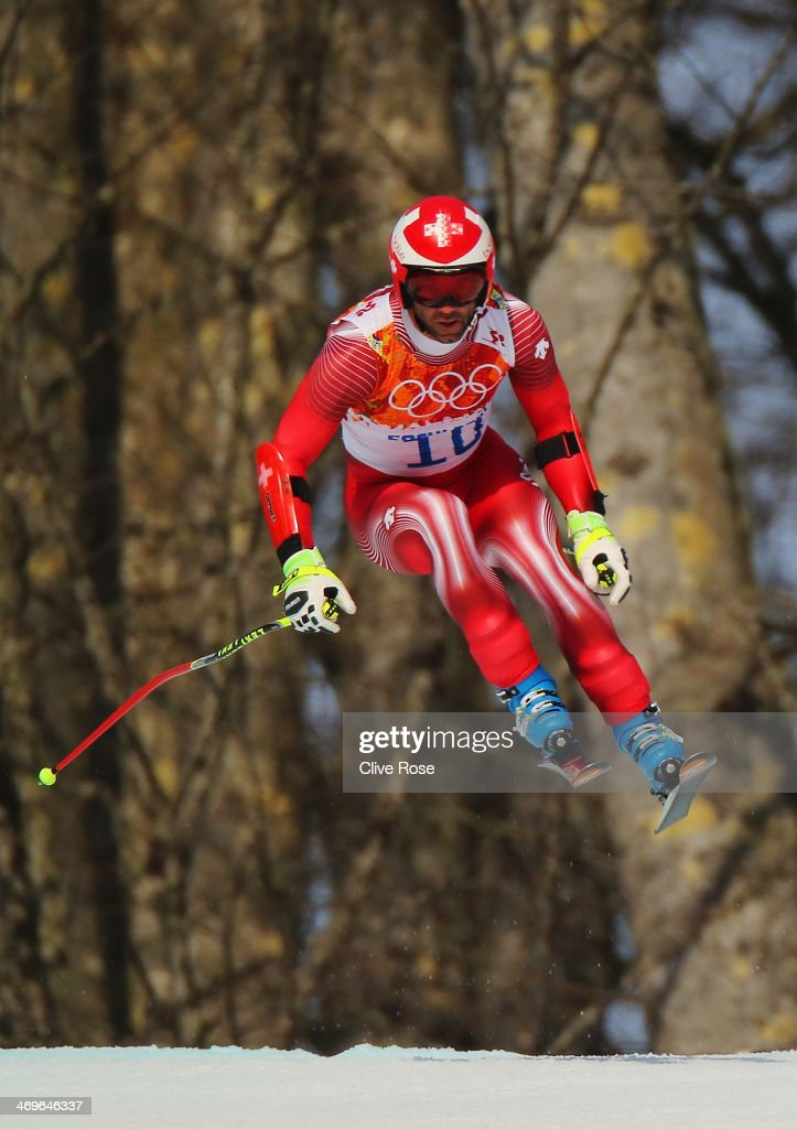 <a gi-track='captionPersonalityLinkClicked' href=/galleries/search?phrase=Didier+Defago&family=editorial&specificpeople=241278 ng-click='$event.stopPropagation()'>Didier Defago</a> of Switzerland skis during the Alpine Skiing Men's Super-G on day 9 of the Sochi 2014 Winter Olympics at Rosa Khutor Alpine Center on February 16, 2014 in Sochi, Russia.