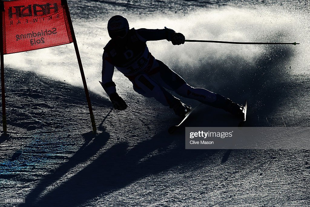 Didier Defago of Switzerland skis in the Men's Giant Slalom during the Alpine FIS Ski World Championships on February 15, 2013 in Schladming, Austria.