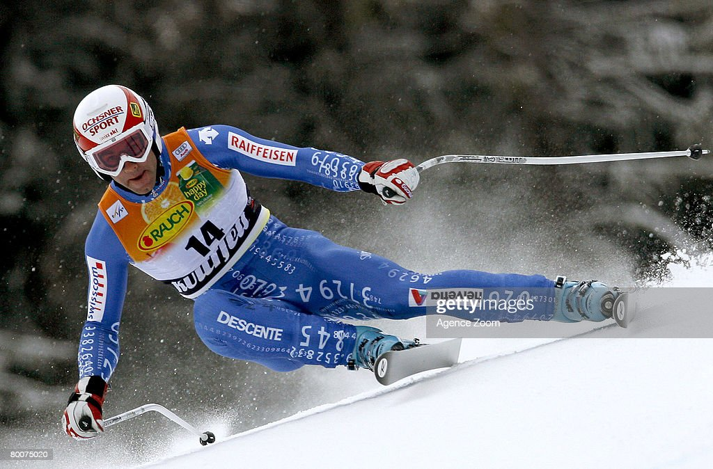 .Didier Defago of Switzerland takes 10th place during the Alpine FIS Ski World Cup. Men's Downhill on March 01, 2008 in Kvitfjell, Norway.