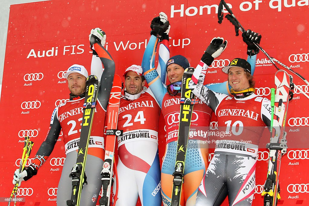 <a gi-track='captionPersonalityLinkClicked' href=/galleries/search?phrase=Didier+Defago&family=editorial&specificpeople=241278 ng-click='$event.stopPropagation()'>Didier Defago</a> of Switzerland takes 1st place, <a gi-track='captionPersonalityLinkClicked' href=/galleries/search?phrase=Bode+Miller&family=editorial&specificpeople=194742 ng-click='$event.stopPropagation()'>Bode Miller</a> of the USA takes 2nd place, <a gi-track='captionPersonalityLinkClicked' href=/galleries/search?phrase=Aksel+Lund+Svindal&family=editorial&specificpeople=227957 ng-click='$event.stopPropagation()'>Aksel Lund Svindal</a> of Norway takes 3rd place, <a gi-track='captionPersonalityLinkClicked' href=/galleries/search?phrase=Max+Franz&family=editorial&specificpeople=7362584 ng-click='$event.stopPropagation()'>Max Franz</a> of Austria takes 3rd place during the Audi FIS Alpine Ski World Cup Men's Super-G on January 26, 2014 in Kitzbuehel, Austria.