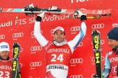 Didier Defago of Switzerland takes 1st place during the Audi FIS Alpine Ski World Cup Men's SuperG on January 26 2014 in Kitzbuehel Austria