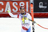 Didier Defago of Switzerland takes 2nd place in his last race before retiring during the Audi FIS Alpine Ski World Cup Finals Men's Downhill on March...