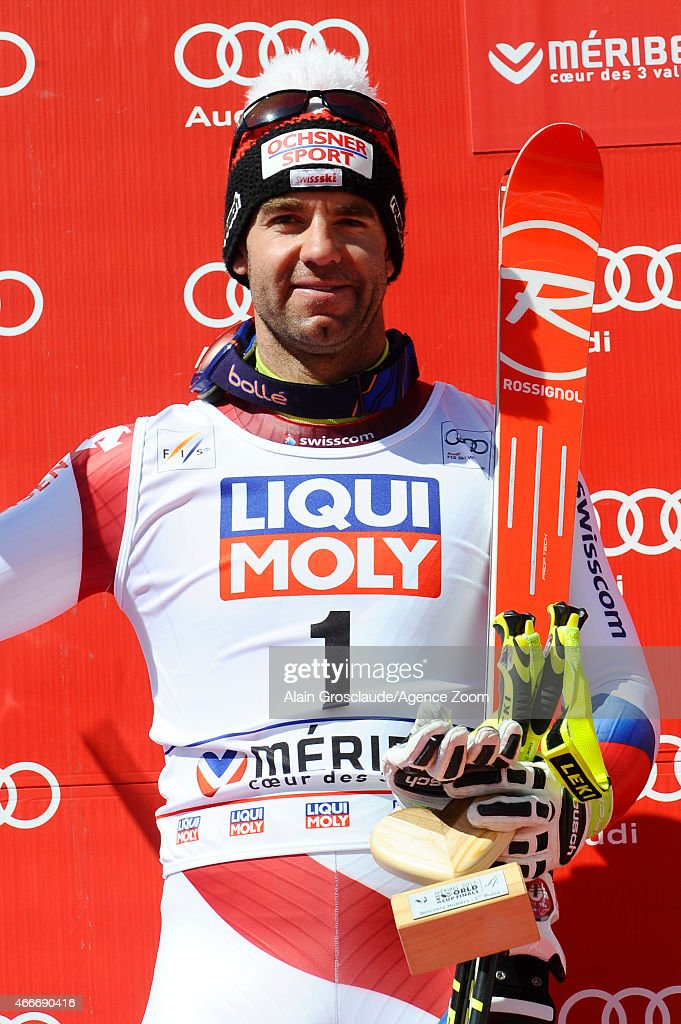Didier Defago of Switzerland takes 2nd place in his last race before retiring during the Audi FIS Alpine Ski World Cup Finals Men's Downhill on March 18, 2015 in Meribel, France.