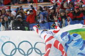 Didier Defago of Switzerland takes the Gold Medal during the Men's Alpine Skiing Downhill on Day 4 of the 2010 Vancouver Winter Olympic Games on...