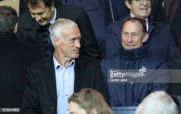 Didier Deschamps and JeanPierre Papin attend during the French Cup SemiFinal match between Paris SaintGermain and As Monaco at Parc des Princes on...