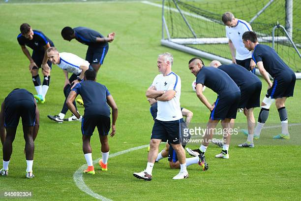 Didier Deschamps coach of France and Dimitri Payet during the France Training Session before the European Chamionship Final against Portugal on July...