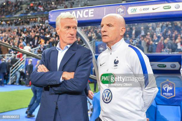 Didier Deschamps coach of France and France assistant coach Guy Stephan during the Fifa 2018 World Cup qualifying match between France and Belarus on...