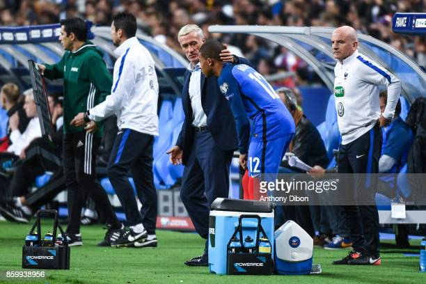 Didier Deschamps coach of France and Kylian Mbappe during the Fifa 2018 World Cup qualifying match between France and Belarus on October 10 2017 in...
