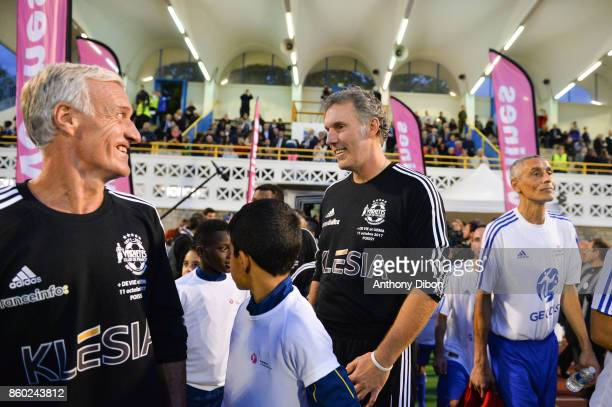 Didier Deschamps coach of France and Laurent Blanc during the Charity match between Variete Club de France and Selection Geodis on October 11 2017 in...