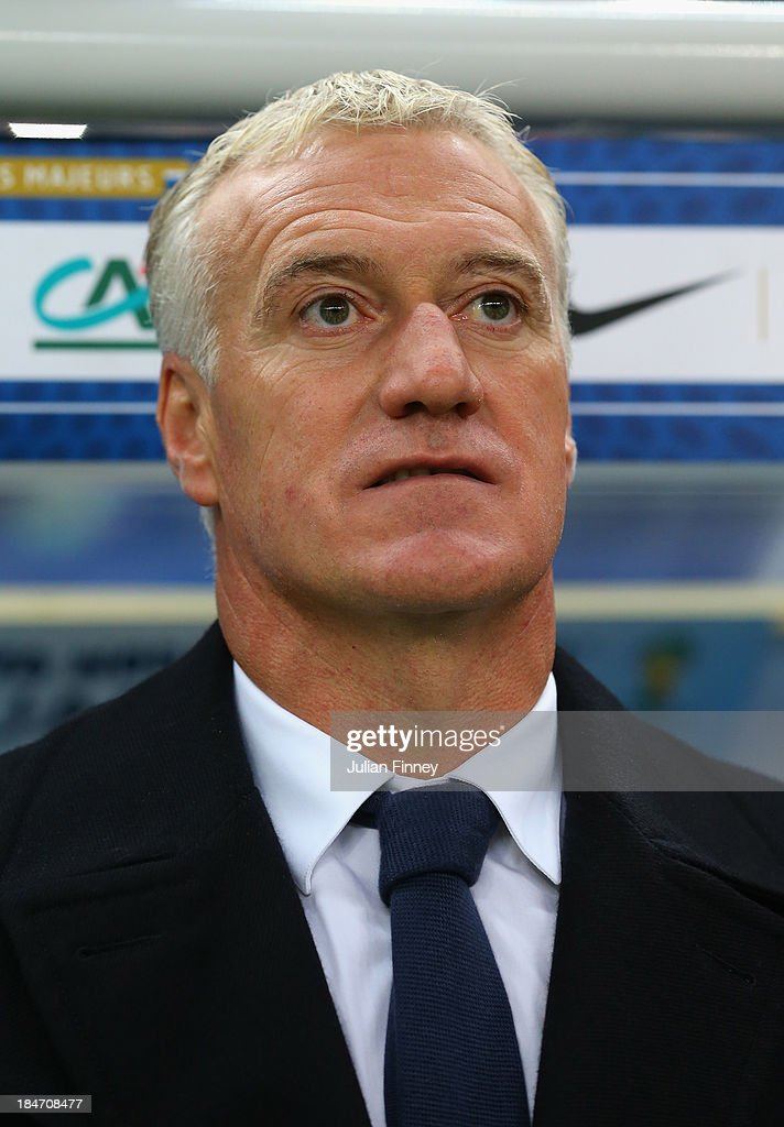 <a gi-track='captionPersonalityLinkClicked' href=/galleries/search?phrase=Didier+Deschamps&family=editorial&specificpeople=213607 ng-click='$event.stopPropagation()'>Didier Deschamps</a>, coach of France looks on during the FIFA 2014 World Cup Qualifying Group I match between France and Finland at the Stade de France on October 15, 2013 in Paris, France.