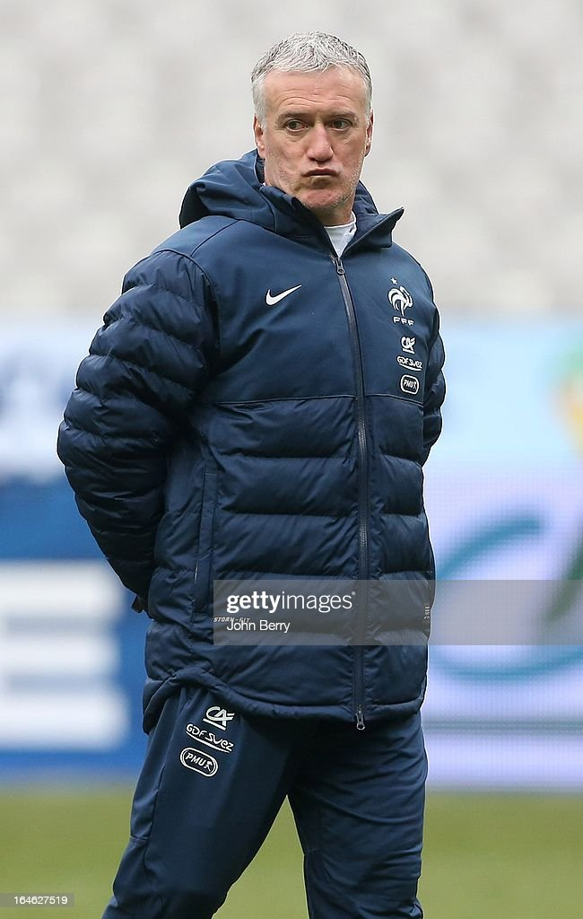 <a gi-track='captionPersonalityLinkClicked' href=/galleries/search?phrase=Didier+Deschamps&family=editorial&specificpeople=213607 ng-click='$event.stopPropagation()'>Didier Deschamps</a>, coach of France looks on during the practice the day before the FIFA World Cup 2014 qualifier between France and Spain at the Stade de France on March 25, 2013 in Saint-Denis near Paris, France.