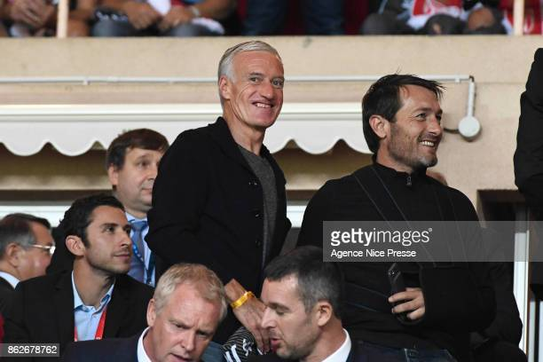 Didier Deschamps coach of the french national team and Cyril Rool former football player during the UEFA Champions League match between AS Monaco and...