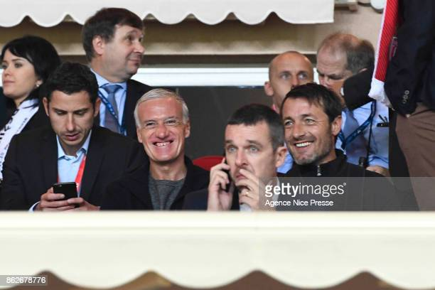 Didier Deschamps coach of the french national team and Cyril Rool former player during the UEFA Champions League match between AS Monaco and Besiktas...