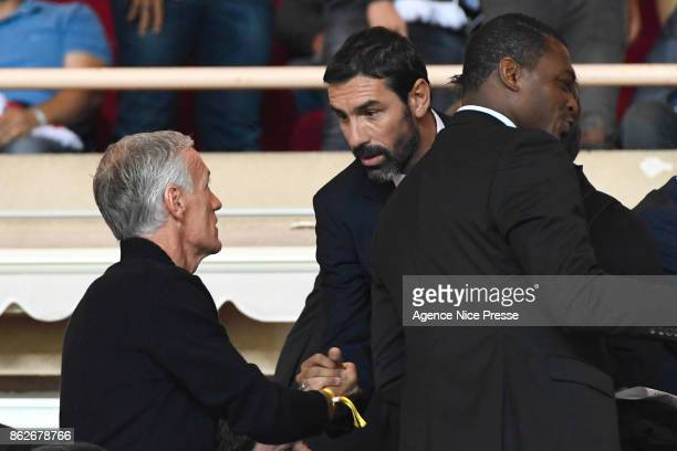 Didier Deschamps coach of the french national team and Robert Pires former football player during the UEFA Champions League match between AS Monaco...
