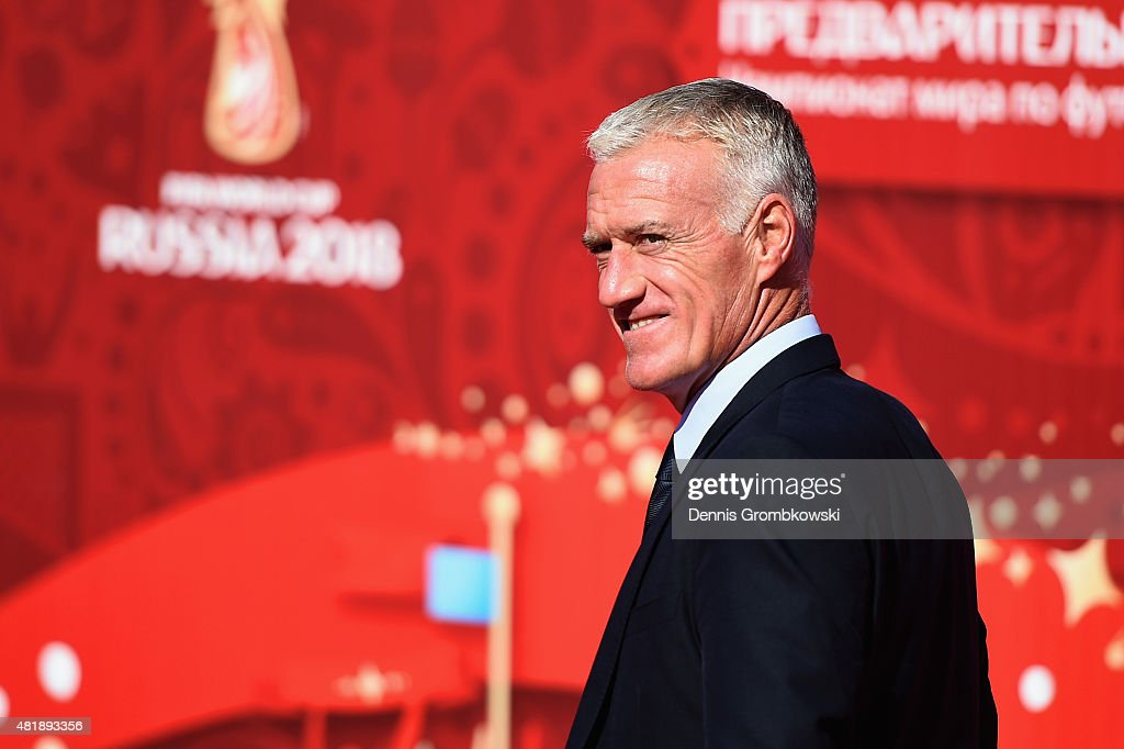 <a gi-track='captionPersonalityLinkClicked' href=/galleries/search?phrase=Didier+Deschamps&family=editorial&specificpeople=213607 ng-click='$event.stopPropagation()'>Didier Deschamps</a> head coach of France attends the Preliminary Draw of the 2018 FIFA World Cup in Russia at The Konstantin Palace on July 25, 2015 in Saint Petersburg, Russia.