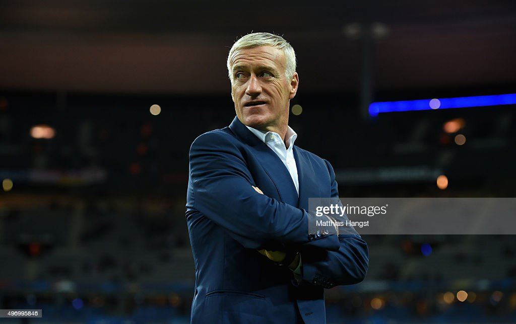 <a gi-track='captionPersonalityLinkClicked' href=/galleries/search?phrase=Didier+Deschamps&family=editorial&specificpeople=213607 ng-click='$event.stopPropagation()'>Didier Deschamps</a>, Head Coach of France looks on prior to the International Friendly match between France and Germany at the Stade de France on November 13, 2015 in Paris, France.
