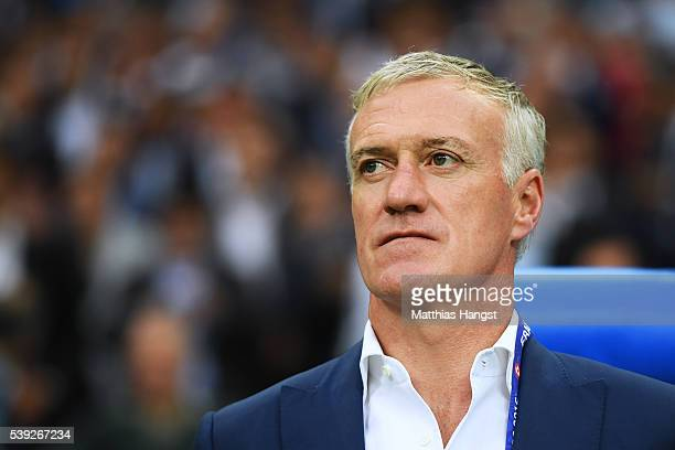 Didier Deschamps manager of France is seen prior to the UEFA Euro 2016 Group A match between France and Romania at Stade de France on June 10 2016 in...