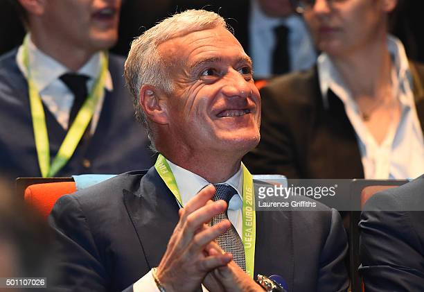 Didier Deschamps Manager of France looks on during the UEFA Euro 2016 Final Draw Ceremony at Palais des Congres on December 12 2015 in Paris France