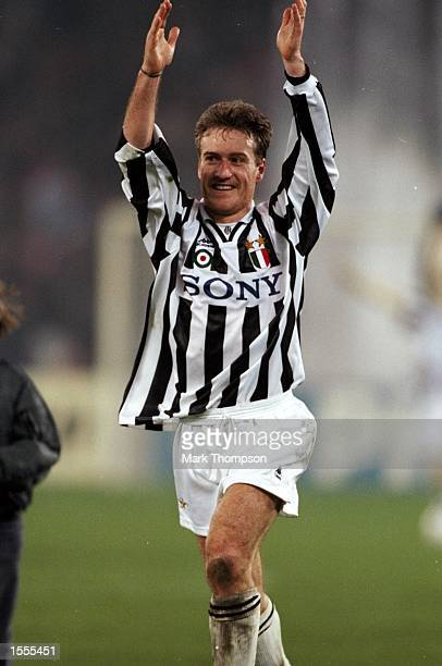 Didier Deschamps of Juventus celebrates after the European Champions League match against Real Madrid at the Delle Alpi Stadium in Turin Italy...
