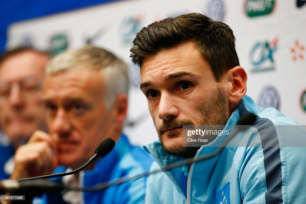 Didier Deschamps the head coach of France and Hugo Lloris the captain of France address the media during the France Press Conference at Wembley Stadium on November 16, 2015 in London, England.