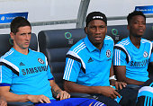 Didier Drogba and Fernando Torres of Chelsea looks on prior the Pre Season Friendly match between FC Olimpija Ljubljana and Chelsea at Stozice...
