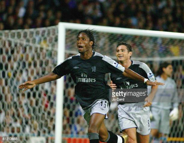 Didier Drogba and Frank Lampard celebrate Drogba's goal during the Barclays Premiership match between Crystal Palace and Chelsea at Selhurst Park on...