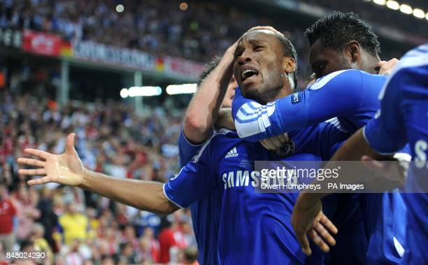 Didier Drogba celebrates his goal after his equalizer during the UEFA Champions League Final at the Allianz Arena Munich Germany