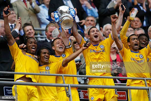 Didier Drogba Florent Malouda John Terry Frank Lampard Jose Bosingwa and Jon Obi Mikel of Chelsea celebrate their win the FA Cup Final between...
