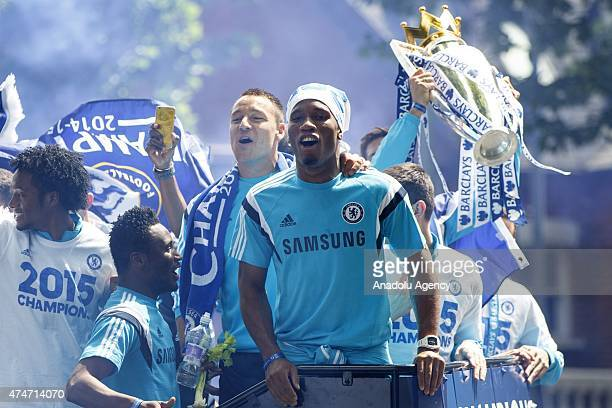 Didier Drogba John Terry and Chelsea FC players celebrate during the open top bus victory parade on May 25 2015 in London England after winning...