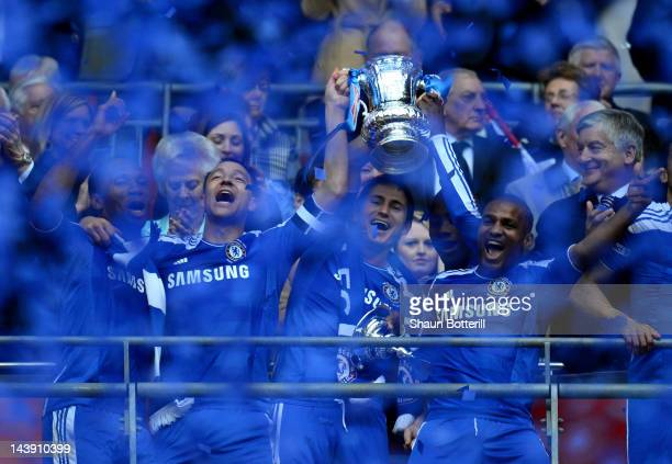 Didier Drogba John Terry Frank Lampard of Chelsea lift the FA Cup trophy during the FA Cup with Budweiser Final match between Liverpool and Chelsea...
