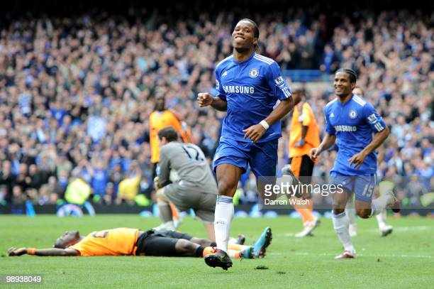Didier Drogba of Chelsea celebrates after completing his hat trick and scoring his team's seventh goal during the Barclays Premier League match...