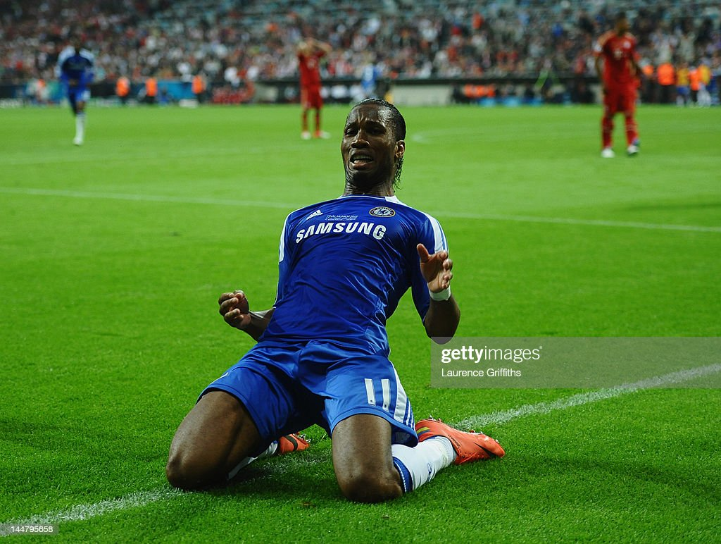 <a gi-track='captionPersonalityLinkClicked' href=/galleries/search?phrase=Didier+Drogba&family=editorial&specificpeople=179398 ng-click='$event.stopPropagation()'>Didier Drogba</a> of Chelsea celebrates after scoring his team's first goal during UEFA Champions League Final between FC Bayern Muenchen and Chelsea at the Fussball Arena München on May 19, 2012 in Munich, Germany.