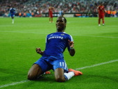 Didier Drogba of Chelsea celebrates after scoring his team's first goal during UEFA Champions League Final between FC Bayern Muenchen and Chelsea at...