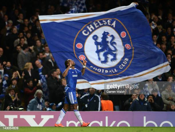 Didier Drogba of Chelsea celebrates after scoring the opening goal during the UEFA Champions League Semi Final first leg match between Chelsea and...