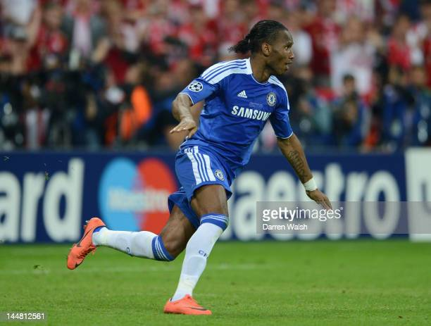 Didier Drogba of Chelsea celebrates after scoring the winning penalty during UEFA Champions League Final between FC Bayern Muenchen and Chelsea at...