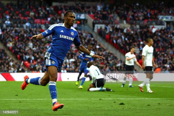Didier Drogba of Chelsea celebrates as he scores their first goal during the FA Cup with Budweiser Semi Final match between Tottenham Hotspur and...