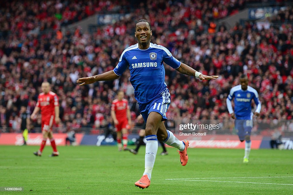 <a gi-track='captionPersonalityLinkClicked' href=/galleries/search?phrase=Didier+Drogba&family=editorial&specificpeople=179398 ng-click='$event.stopPropagation()'>Didier Drogba</a> of Chelsea celebrates as he scores their second goal during the FA Cup with Budweiser Final match between Liverpool and Chelsea at Wembley Stadium on May 5, 2012 in London, England.